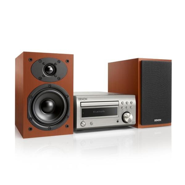 Denon dm-41 plata/cereza microcadena/sistema hi-fi con cd/bluetooth/sintonizador fm/am